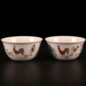 China Antique Porcelain Ming Chenghua Hand Painted Doucai Chicken Cup Bowl
