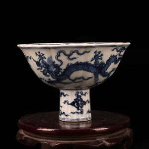 China Antique Ming Xuande Hand Painted Blue White Dragon Stem Cup