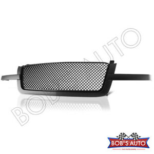 For 03 05 Chevy Silverado Avalanche Black Diamond Mesh Front Hood Grille Molding