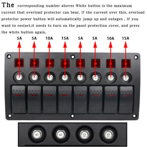 3pin 12 24v 8gang Red Led Rocker Switch Panel Breaker Car Marine Boat Waterproof