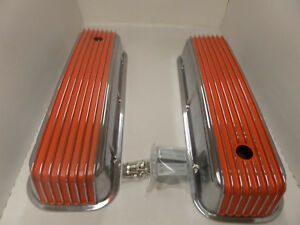 Bbc Chevy Polished Tall Valve Covers Orange Fin Val Cover Cr 225