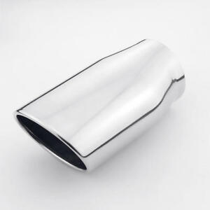 2 75 Od Inlet 6 3 Long Polished Stainless Steel Oval Exhaust Tip Rolled Out