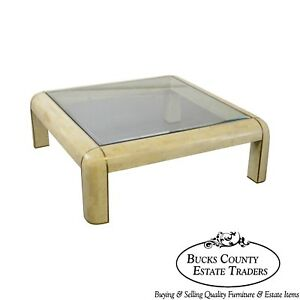 Maitland Smith Large Square Tessellated Stone Brass Glass Top Coffee Table