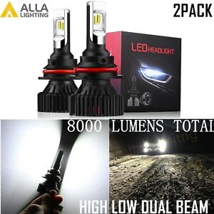 Alla Lighting 8000lm 9004 Led Headlight High Low Beam Light Bulbs Lamps White