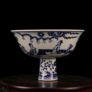 China Antique Porcelain Ming Xuande Blue White Hand Painted Character Stem Cup