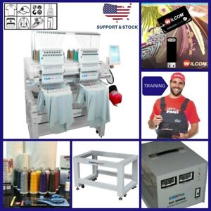 Full Package 02 Heads 15 Colors Camfive Emb Ht1502 Double Embroidery Machine