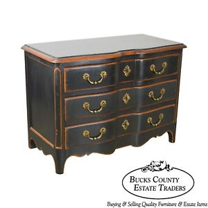 French Louis Xv Style Custom Distressed Black Painted Chest Of Drawers