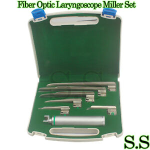 New Orignal Fiber Optic Laryngoscope Miller Set Of 6 Blade handles Emt Anesthe