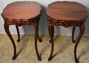Pair Of Antique French Louis Xv Walnut Round Side End Tables Carved Bass