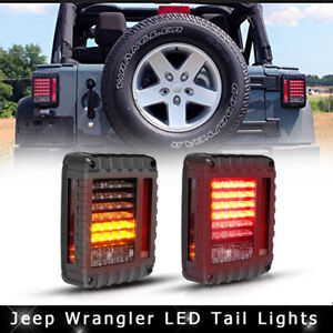 For 07 16 Jeep Wrangler Jk Led Tail Lights Rear Brake Turn Signal Reverse Lamps