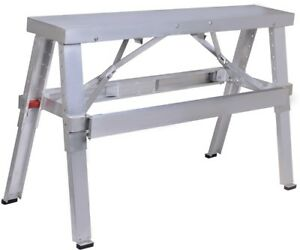 Adjustable Aluminum Folding Bench Heavy Duty Drywall Large Load Capacity Silver
