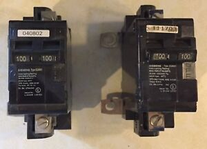 2 100amp Siemens 2 pole Main Breakers