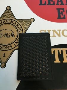Tex Shoemaker Black Basketweave Police Id Wallet Holder Holder Fbi Cia Dea