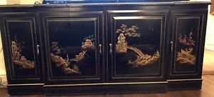 Vintage Chinoiserie Black Lacquer Buffet