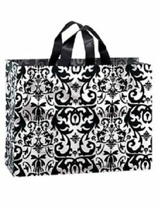 Plastic Shopping Bags 50 Black White Damask Frosty Frosted 16 X 6 X 12
