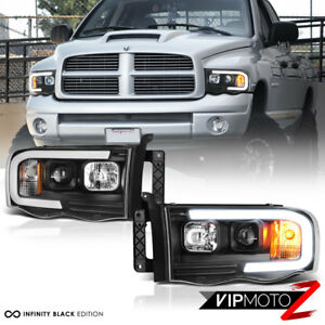 02 05 Dodge Ram Pickup 1500 2500 3500 Black Led Bar Neon Drl Projector Headlight