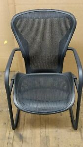 Aeron Side Chair By Herman Miller Graphite Black Pellicle Mesh