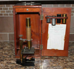 Antique Vintage Bausch Lomb Brass Microscope W Wood Box Extras