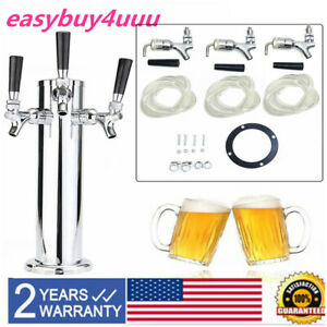 Triple Faucet 3 Taps Draft Beer Tower Homebrew Bar Fit Kegerator Stainless Steel