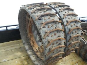 2 Steel Belted Farm Tractor Wheels Tires 45 Tall 14 Wide
