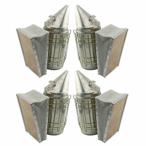 Set Of 4 Stainless Bee Hive Smoker Steel With Heat Shield Beekeeping Equipment
