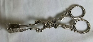Antique 800 Silver German Hallmarked Asparagus Tongs Cranes Cupid Hanau