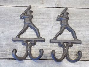 2 Baseball Decor Hooks Coat Hat Wall Rack Rustic Cast Iron Antique Vintage Style
