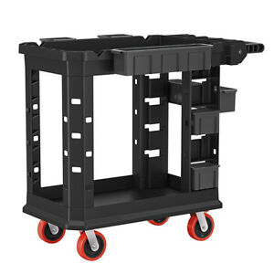 Utility Service Trolley Cart Shelf Transport Plastic Wheel 500lb Storage Bin New