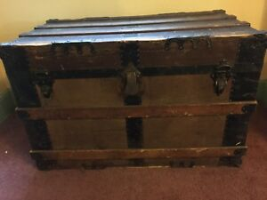 Antique Flat Top Steamer Trunk