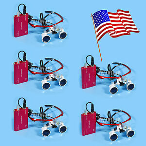 5kits Dental Surgical 3 5x Magnifier Loupes Eyeglasses Led Headlight Lamp Red