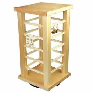 2 Wood Earring Racks Displays Rotating Countertop 200 Cards 7 3 8 X 15 3 8
