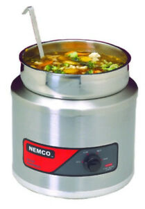 7 Qt Nemco Soup Warmer slightly Used Nsf Stainless Steal pot lid Ladle