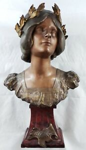 Rare Antique 19th C French Bronze Bust Rouge Marble Beatrix Beatrice J Causse