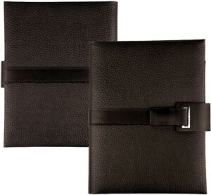 Hugo Boss A5 Leather Writing Case Brown Business Conference Folder Magnet Cap