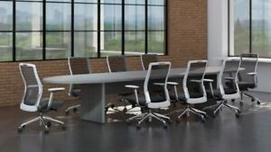 Amber 12 Racetrack Office Conference Table Valley Grey