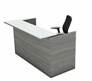 Amber Reception Office Desk Shell With Glass Counter Valley Grey