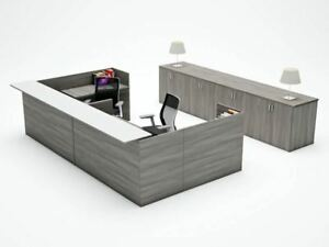 Amber U shape Reception Office Desk Shell With Glass Counter Valley Grey