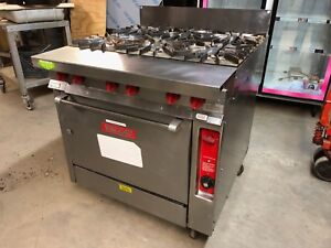 Vulcan Gh56 Commercial 34 Natural Gas 6 Eye Stove With Convection Oven