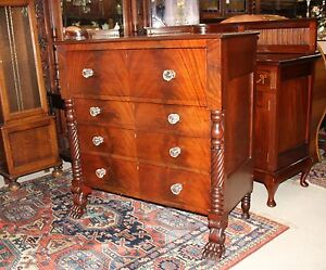 French Empire Style Antique Chest Of Drawer Commode Secretary Desk Furniture