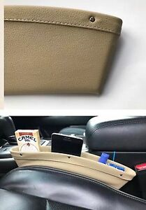 1pu Leather Car Seat Gap Filler Catch Box Caddy Slit Pocket Storage Organizer Bg