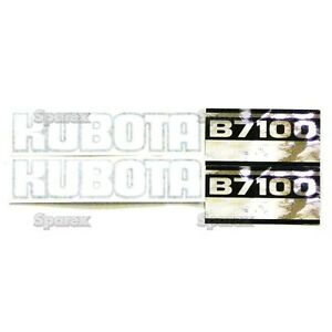 New Kubota B7100 Black white silver Decal Set