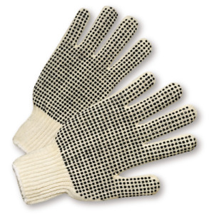25 Dozen 300 Pair Standard String Knit Pvc Dot Both Sides Work Gloves Large L
