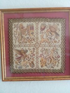 Antique Vtg Linen Damask Hankerchief Family Crest Coat Of Arms Heraldry Framed