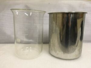 Vintage 4000 Ml Pyrex Lab Darkroom Glass Beaker With Stainless Steel Canister
