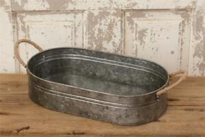 Vintage Primitive Decorative Oblong Metal Bucket Pan Tin Serving Tray W Handles