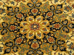 Authentic Persian Isfahan Wool Fine Silk Rug Ivory Bkd Olive Cream Gold Blue 4x6