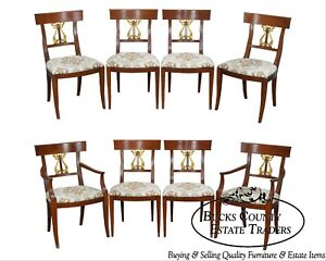 Neo Classical Empire Style Custom Set Of 8 Dolphin Carved Dining Chairs