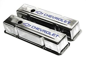 Sbc Chrome Steel Tall Valve Covers W Blue Chevrolet Logo 58 86 Chevy