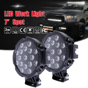 2pcs 51w Round Led Work Light 7 inch Spot Off roads Roof Bar Driving Black Suv
