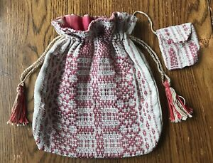 Early 19th Century Loom Woven Coverlet Ladies Drawstring Purse